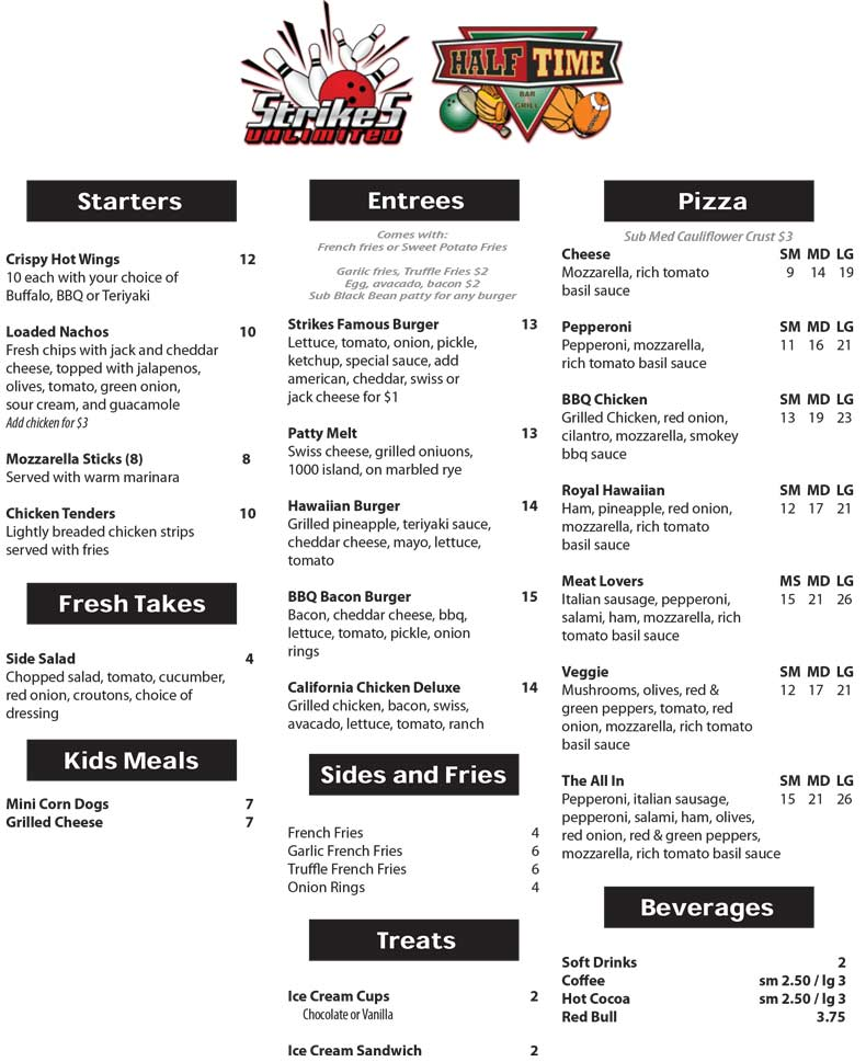 half time bar and grill menu